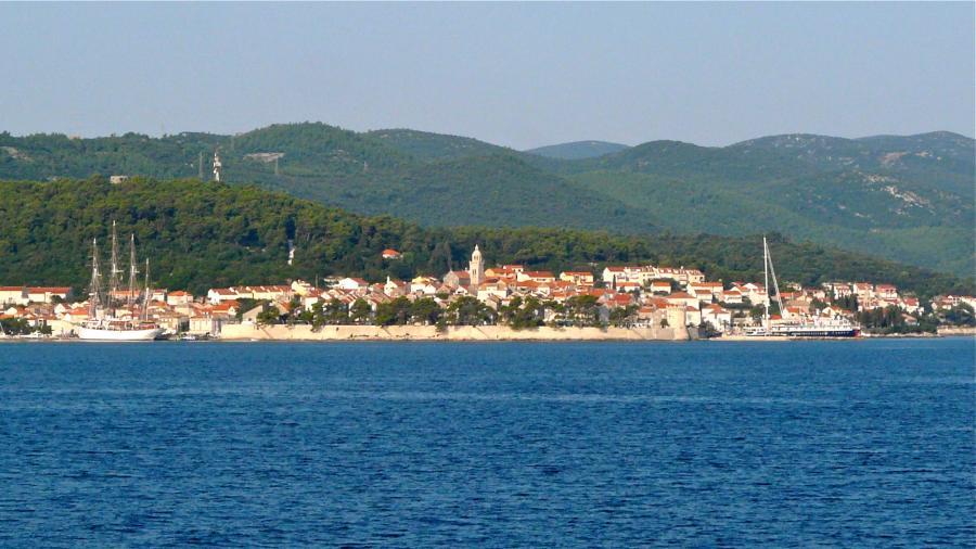 Blick auf Korčula Stadt